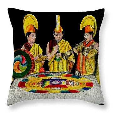 The Tibetan Monks At Lilydale Assembly Throw Pillow