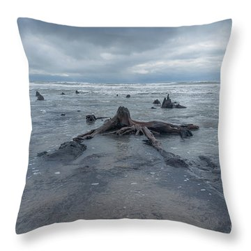 The Tide Comes In Over The Bronze Age Sunken Forest At Borth On The West Wales Coast Uk Throw Pillow