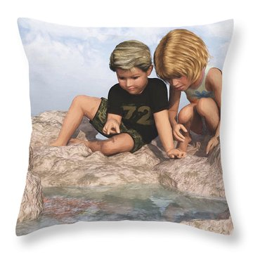 Throw Pillow featuring the digital art The Tide Pool by Jayne Wilson