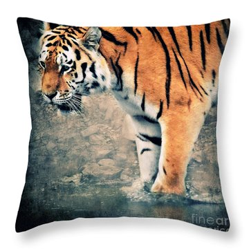 The Tiger Throw Pillow by Angela Doelling AD DESIGN Photo and PhotoArt