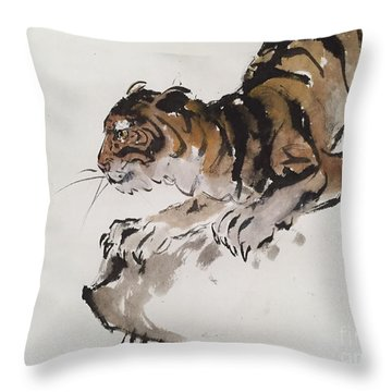 The Tiger At Rest Throw Pillow