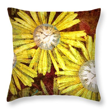 The Time Flowers Throw Pillow by Tara Turner