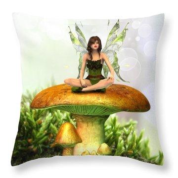 The Toadstool Fairy Throw Pillow