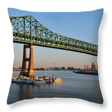 The Tobin Bridge Into The Sunset Chelsea Yacht Club Throw Pillow