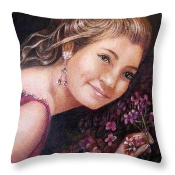 The Topaz Earring Throw Pillow by Patricia Schneider Mitchell