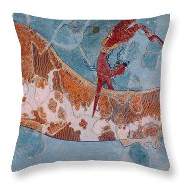 The Toreador Fresco, Knossos Palace, Crete Throw Pillow