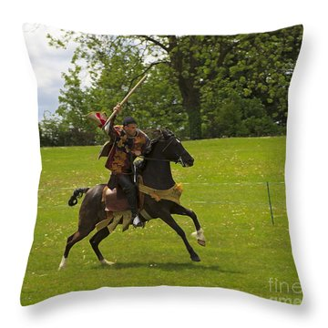 The Toss A Squire Throws A Javelin From Horseback Throw Pillow by Louise Heusinkveld