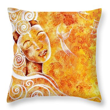 Throw Pillow featuring the painting The Touch Of Grace by Julie  Hoyle