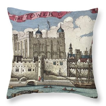 The Tower Of London Seen From The River Thames Throw Pillow by English School