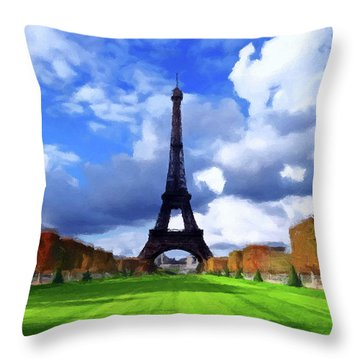 Throw Pillow featuring the painting The Tower Paris by David Dehner