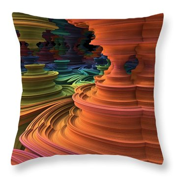 Throw Pillow featuring the digital art The Towers Of Zebkar by Lyle Hatch
