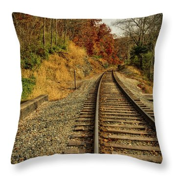 Throw Pillow featuring the photograph The Tracks In The Fall by Mark Dodd