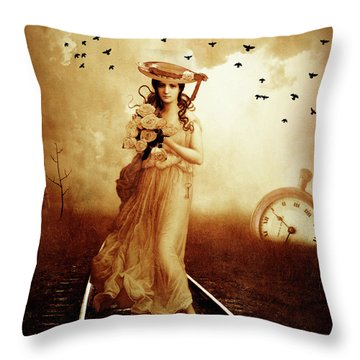 The Train Never Came Throw Pillow by KaFra Art