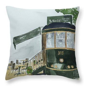 Throw Pillow featuring the painting The Tram Cafe by Eva Ason