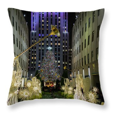 The Tree At Rockefeller Plaza Throw Pillow