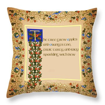 Throw Pillow featuring the digital art The Tree Grew Apples Square by Donna Huntriss
