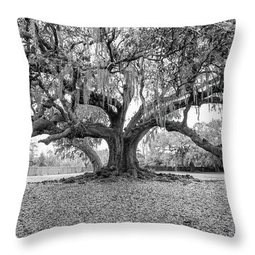 The Tree Of Life Monochrome Throw Pillow by Steve Harrington
