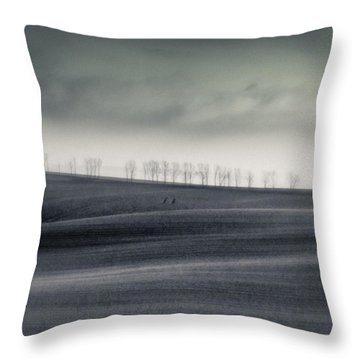 The Trees On The Horizon  #monochrome Throw Pillow