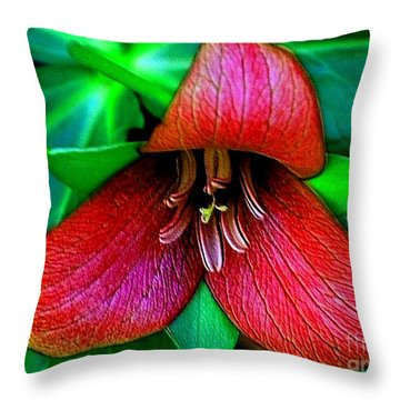 Throw Pillow featuring the photograph The Trillium by Elfriede Fulda
