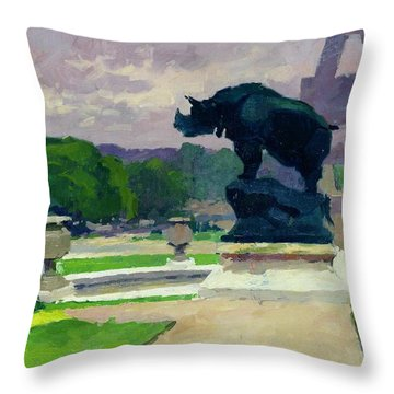 The Trocadero Gardens And The Rhinoceros Throw Pillow by Jules Ernest Renoux
