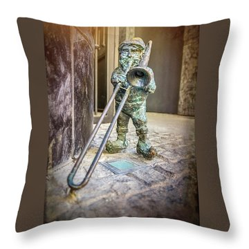 The Trombone Player Wroclaw Poland  Throw Pillow