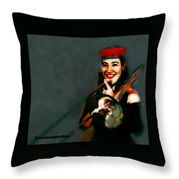 The Trombonist Painting Throw Pillow