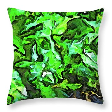 The Tropical Green Leaves With The Wings Throw Pillow
