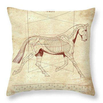 The Trot - The Horse's Trot Revealed Throw Pillow by Catherine Twomey