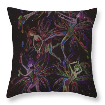 Throw Pillow featuring the drawing The Trouble With Paint by Dawn Fairies