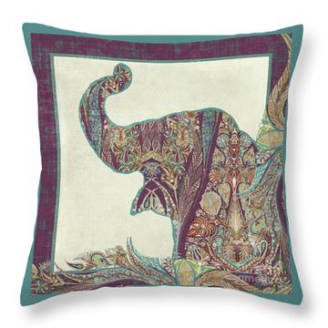 Throw Pillow featuring the painting The Trumpet - Elephant Kashmir Patterned Boho Tribal by Audrey Jeanne Roberts