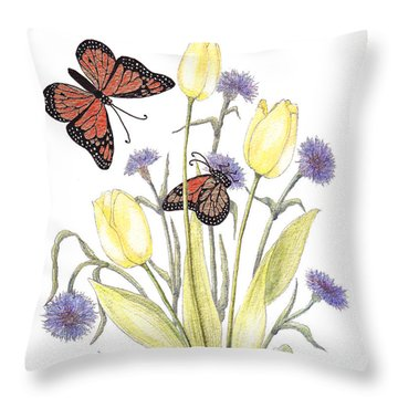 Throw Pillow featuring the painting The Tulip And The Butterfly by Stanza Widen