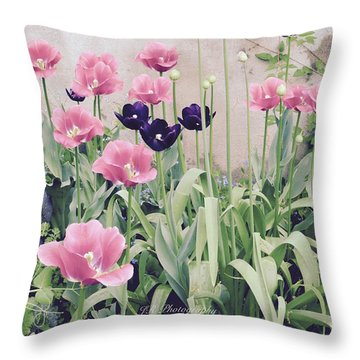 The Tulip Garden Throw Pillow
