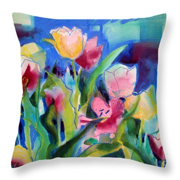 The Tulips Bed Rock Throw Pillow by Kathy Braud