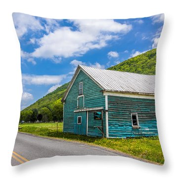 Throw Pillow featuring the photograph The Turquoise Barn by Paula Porterfield-Izzo