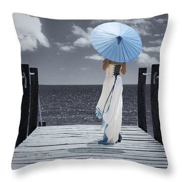 The Turquoise Parasol Throw Pillow by Amanda Elwell