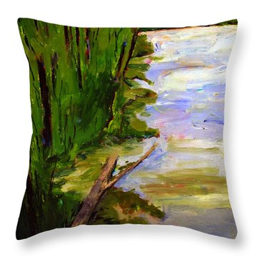 Throw Pillow featuring the painting The Turtle Log by Charlie Spear