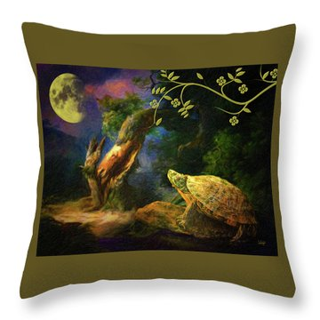 The Turtle Of The Moon Throw Pillow