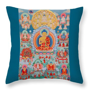 The Twelve Primordial Teachers Of Dzogchen - Tonpa Chu Ni Throw Pillow