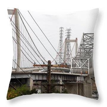 The Two Carquinez Bridges At Crockett And Vallejo California . Aka Alfred Zampa Memorial Bridge . 7d8919 Throw Pillow