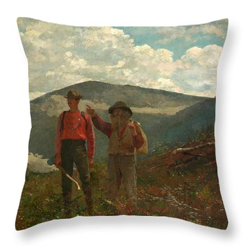 Throw Pillow featuring the painting The Two Guides by Winslow Homer