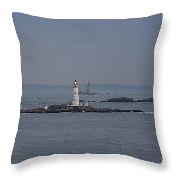 The Two Harbor Lighthouses Throw Pillow