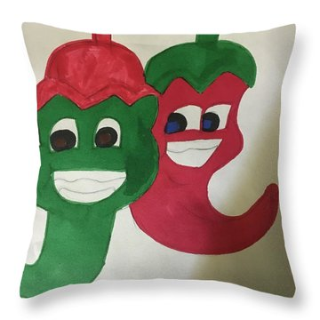 The Two Hot Peppers  Throw Pillow