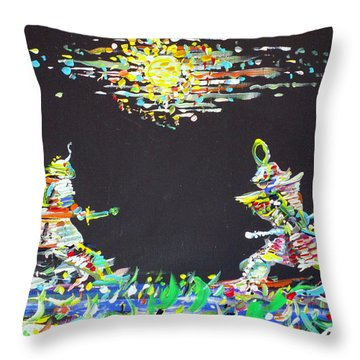 Throw Pillow featuring the painting The Two Samurais by Fabrizio Cassetta