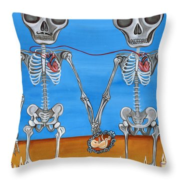 The Two Skeletons Throw Pillow