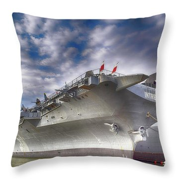 The U S S Intrepid  Throw Pillow