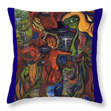 Throw Pillow featuring the painting The Ultimate Conflict by Karen Musick