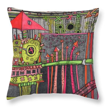 The Umbrella Roof Throw Pillow by Sandra Church