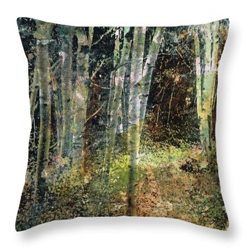 Throw Pillow featuring the painting The Underbrush by Frances Marino