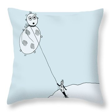 Throw Pillow featuring the drawing The Unexpected Consequences Of Inhaling Helium by Keith A Link