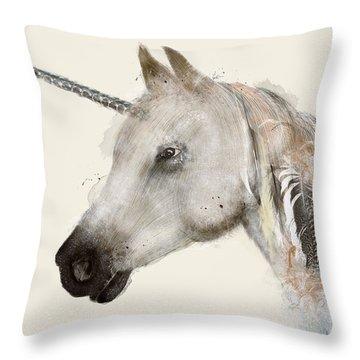 The Unicorn Throw Pillow by Bri B